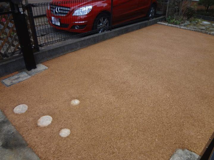 松戸市 M様邸 車庫のガチン固舗装工事 施工後